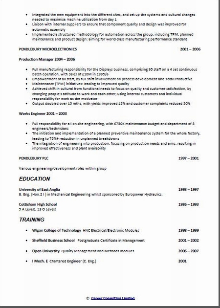chief engineer cv sample